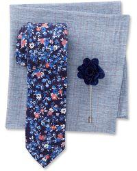 Original Penguin - Tanner Floral Tie, Grid Pocket Square, & Dot Lapel Pin Box Set - Lyst