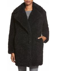 Kensie - 'teddy Bear' Notch Collar Reversible Faux Fur Coat - Lyst