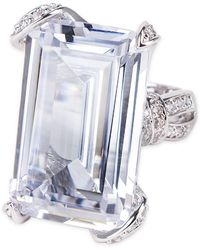 Kenneth Jay Lane - Pave Prong Set Emerald Cz Statement Ring - Lyst