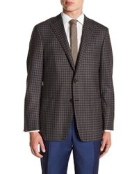 Hickey Freeman - Grey Blue Gingham Two Button Notch Lapel Wool Classic Fit Sports Coat - Lyst