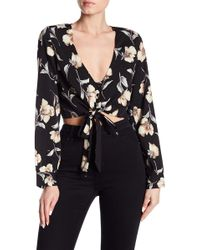 Lucca Couture - Skylar Floral Tie Waist Top - Lyst