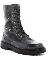 Moschino - Etched Design Combat Boot - Lyst