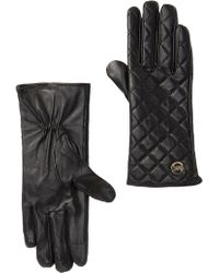 Michael Kors Quilted Leather Gloves - Black