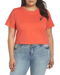 Glamorous - Parrot-dise Embroidered Crop Tee (plus Size) - Lyst