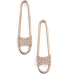 Rebecca Minkoff - Pave Safety Pin Earrings - Lyst
