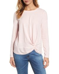 Caslon - (r) Long Sleeve Front Knot Tee (petite) - Lyst