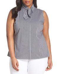 Sejour - Tie Collar Cotton Blend Top (plus Size) - Lyst