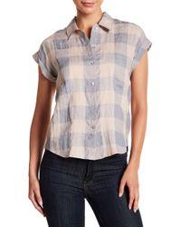 Lucky Brand - Cuff Sleeve Linen Blend Plaid Shirt - Lyst