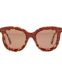 d19bb61d3289 Bottega Veneta - Women s Oversized Leather Inlay Sunglasses - Lyst