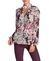 0d6b5b77619de Philosophy Apparel - Printed Cutout Mock Neck Blouse - Lyst