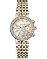 Bulova - Women's Diamond Chronograph Two-tone Bracelet Watch, 30mm - 0.16 Ctw - Lyst