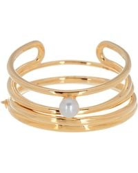BaubleBar - 18k Gold Plated Sterling Silver Perla 4mm Freshwater Pearl Ring Set - Size 6 - Lyst