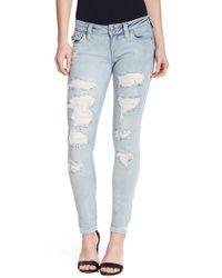 True Religion | Skinny Flap Pocket Distressed Jeans | Lyst