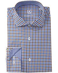 Bugatchi - Gingham Trim Fit Dress Shirt - Lyst