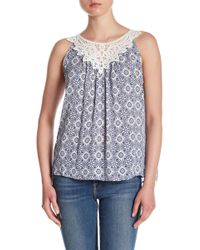 Skies Are Blue - Lace Neckline Patterned Tank - Lyst