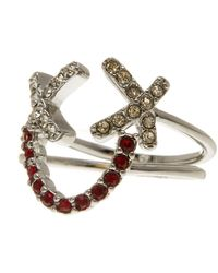 Rebecca Minkoff - Pave Smiley Face Ring Set - Size 7 - Lyst