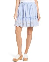 Caslon - Embroidered Hem Cotton Pinstripe Skirt (regular & Petite) - Lyst