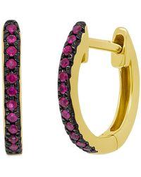 Ron Hami - 14k Yellow Gold Ruby Huggie 11mm Hoop Earrings - Lyst