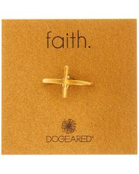 Dogeared - 14k Gold Plated Sterling Silver Cross Ring - Size 7 - Lyst