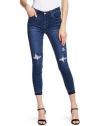 Kensie - Distressed Straight Leg Jeans - Lyst