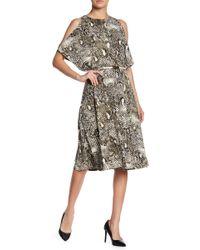 Jones New York - Belted Cold-shoulder Midi Dress - Lyst