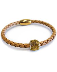 Liza Schwartz - Single Topaz Bedazzle Camel Premium Leather Bracelet - Lyst