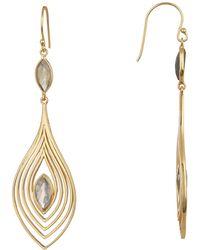 Argento Vivo - 18k Gold Plated Sterling Silver Labradorite Double Teardrop Dangle Earrings - Lyst