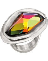 Uno De 50 - Micron Silver Nocturnal Freeform Swarovski Crystal Ring - Lyst