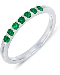 Bony Levy - 18k White Gold Scallop Set Green Emerald Stackable Band - Lyst