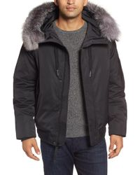 Andrew Marc - Bomber Jacket W/ Genuine Fox Fur Trimmed Hoodie - Lyst