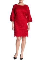 Eliza J - Pleated Puff Sleeve Lace Shift Dress (plus Size) - Lyst