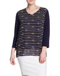 MICHAEL Michael Kors - Patterned 3/4 Sleeve Top (plus Size) - Lyst