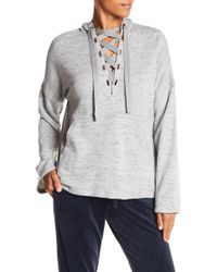 Max Studio - Lace-up Pullover Hoodie - Lyst