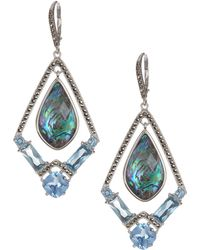 Judith Jack - Sterling Silver Swarovski Marcasite, Abalone & Blue Cz Drop Earrings - Lyst