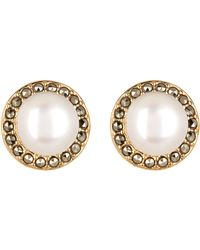 Judith Jack - 10k Gold Plated Sterling Silver Swarovski Marcasite Pave 7mm Freshwater Button Pearl Stud Earrings - Lyst