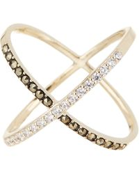 Judith Jack - Cubic Zirconia, Marcasite And Goldplated Sterling Silver X Ring - Lyst
