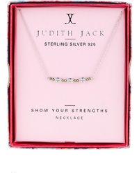 Judith Jack - Sterling Silver Swarovski Marcasite Embellished & Cubic Zirconia Bar Pendant Necklace - Lyst
