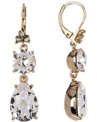 Marchesa - Crystal Accented Double Drop Earrings - Lyst