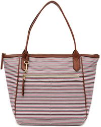 Fossil - Fiona Striped Tote - Lyst