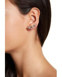 Jenny Packham - Crystal & Simulated Pearl Accented Leaf Ear Crawlers - Lyst