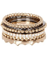 Jenny Packham | Crystal Pave & Accented Stackable Ring Set - Size 7 | Lyst