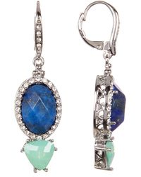 Jenny Packham - Crystal Pave Prong Set Faceted Stone Drop Earrings - Lyst