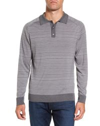 GANT - Stripe Merino Wool Polo Sweater - Lyst