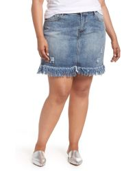 Glamorous - Distressed Cotton Denim Miniskirt (plus Size) - Lyst