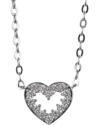 Nadri - Rhodium Plated Brass Cz Heart Pendant Necklace - Lyst