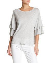 Lush - Tiered Ruffle Sleeve Shirt - Lyst