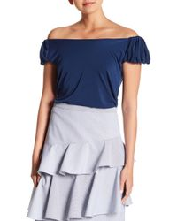 0a44c3940f666c Lyst - Vince Camuto Two By Striped Off-the-shoulder Tunic in Blue