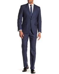 Kenneth Cole Reaction - Blue Sharkskin Two Button Notch Lapel Techni-cole Performance Trim Fit Suit - Lyst