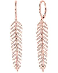 Ron Hami - 14k Rose Gold Diamond Feather Drop Earrings - 0.60 Ctw - Lyst