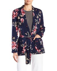 Joie - Anasophia Floral Print Belted Silk Blazer - Lyst